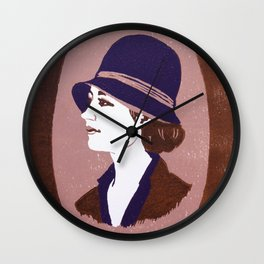 1920s Lady (linocut) Wall Clock