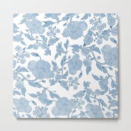 Modern White Blue Glitter Watercolor Floral Metal Print