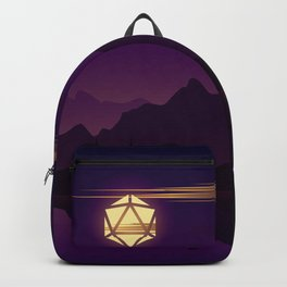 Yellow Full Moon D20 Dice Purple Night Tabletop RPG Landscapes Backpack