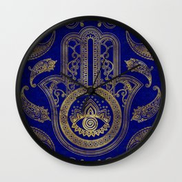 Hamsa Hand  - gold on lapis lazuli Wall Clock