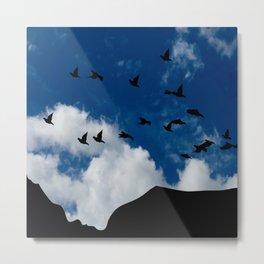 Sky, Face Profile Mountains and Black Birds Metal Print