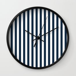Navy and White Stripes Wall Clock