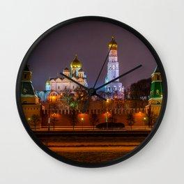 Moscow Kremlin cathedrals at night Wall Clock