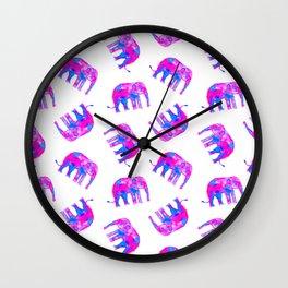 Watercolor Elephants in Bubblegum Pink + White Wall Clock