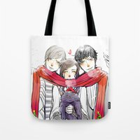 jem Tote Bags featuring Jem, Tessa and Will by The Radioactive Peach