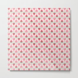 Strawberry Halves Pattern in Pink Metal Print