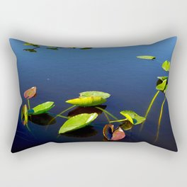 Green Red Leaves in Water Rectangular Pillow