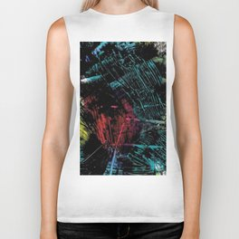 Abstract Black with a Slash of Color Biker Tank