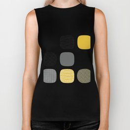 Abstract in mustard and grey Biker Tank