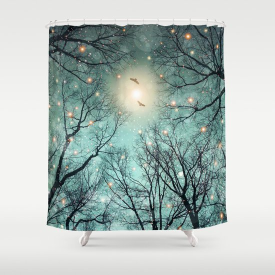 nature blazes before your eyes mint embers shower curtain by soaring