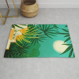 Exotic Garden Nightscape / Tropical Night Series #2 Rug