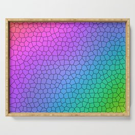 Rainbow Ombre Crackle Design Serving Tray
