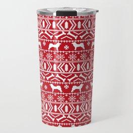 Akita dog breed fair isle christmas sweater pattern funny dog lover gifts Travel Mug
