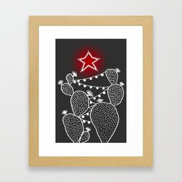 Cactus christmas tree with red star Framed Art Print