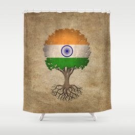 Vintage Tree of Life with Flag of India Shower Curtain