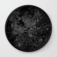 north carolina Wall Clocks featuring raleigh map north carolina by Line Line Lines