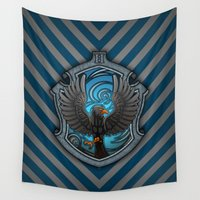 ravenclaw Wall Tapestries featuring Hogwarts House Crest - Ravenclaw Film by Teo Hoble