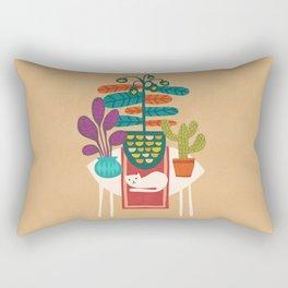 Indoor garden with cat Rectangular Pillow