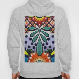 Colorful Talavera, Yellow Accent, Mexican Tile Design Hoody