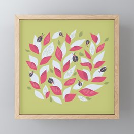 Pretty Plant With White Pink Leaves And Ladybugs Framed Mini Art Print