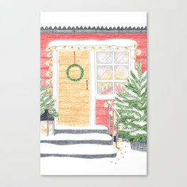 Red House Christmas Canvas Print