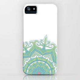 Blue and Green Flower Mandala II iPhone Case
