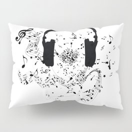 Headphones and Music Notes Pillow Sham