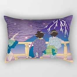 Hokusai People Seeing Mt. Fuji under the Stars Rectangular Pillow