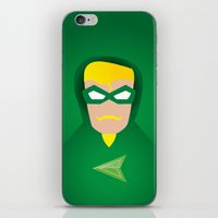 green arrow iPhone & iPod Skins featuring GREEN ARROW by Roboz