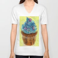 cupcakes V-neck T-shirts featuring Cupcakes by A.Aenska-Cholpanova