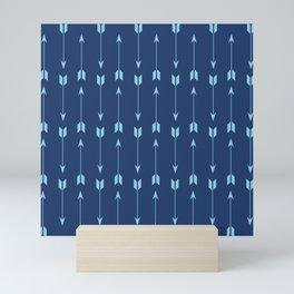 Modern Geometric Dark and Light Aqua Patterns Mini Art Print