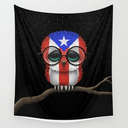 Baby Owl with Glasses and Puerto Rican Flag Wall Tapestry