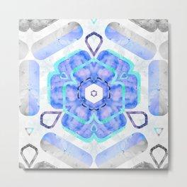 Blue Viola Hybrid Flower Abstract Art Watercolor Metal Print