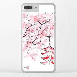 Sakura in the Wind Clear iPhone Case