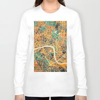 london map Long Sleeve T-shirts featuring London Mosaic Map #3 by Map Map Maps