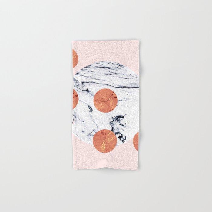 Marble + Pink + Copper #society6 #buyart #decor Hand & Bath Towel