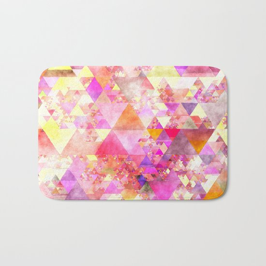 Abstract pink purple yellow -Colorful triangle pattern #Society6 Bath Mat