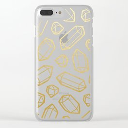 Gold and White Gemstone Pattern Clear iPhone Case