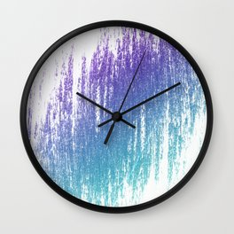 Soft Rain Style Abstract Teal and Purple Wall Clock