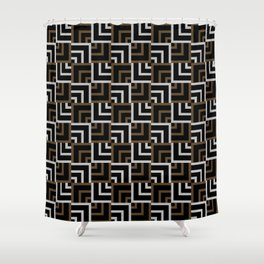 Brown and Silver Squares Shower Curtain