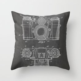Camera Patent - Photography Art - Black Chalkboard Throw Pillow