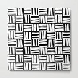 Linocut black and white minimal pattern stripes criss cross squares scandinavian style Metal Print