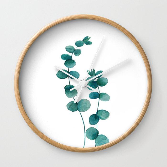 green eucalyptus watercolor Wall Clock