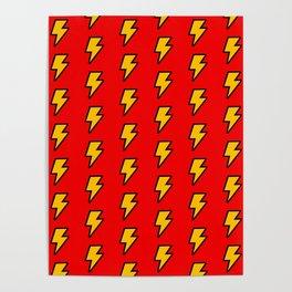 Cartoon Lightning Bolt pattern Poster
