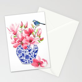 Magnolia chinoiserie vase Stationery Cards