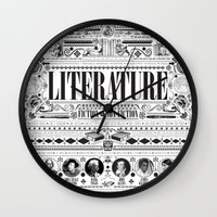 literature Wall Clocks featuring Literature Poster by Ryan Huddle House of H