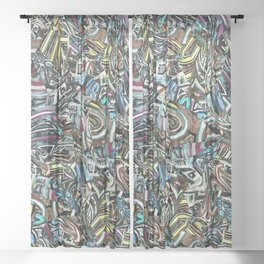Origami Four Blue Toned Jewels Sheer Curtain