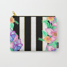 Stylish black white gold stripes floral monogram  Carry-All Pouch