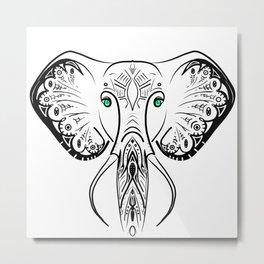Elephant Zen Doodle Metal Print