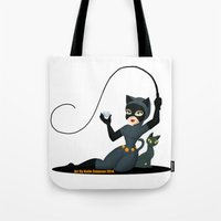 catwoman Tote Bags featuring Catwoman  by Katie Simpson a.k.a. Redhead-K